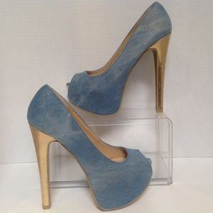 "Scene Keyshia Size 5.5 Denim stiletto 5 1/2"" heels"